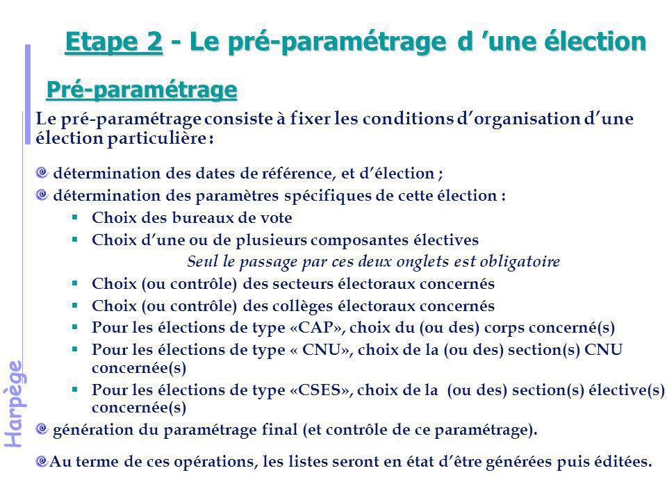 Etape 2 - Le pré-paramétrage d 'une élection