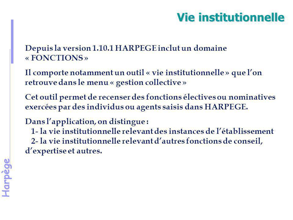 Vie institutionnelle Depuis la version 1.10.1 HARPEGE inclut un domaine « FONCTIONS »
