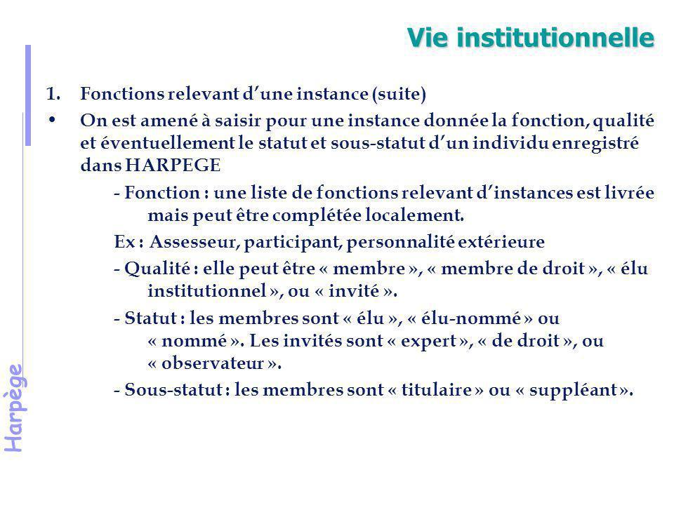 Vie institutionnelle Fonctions relevant d'une instance (suite)