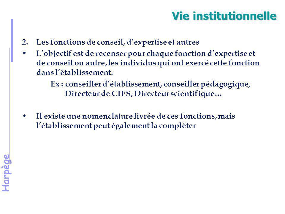 Vie institutionnelle Les fonctions de conseil, d'expertise et autres
