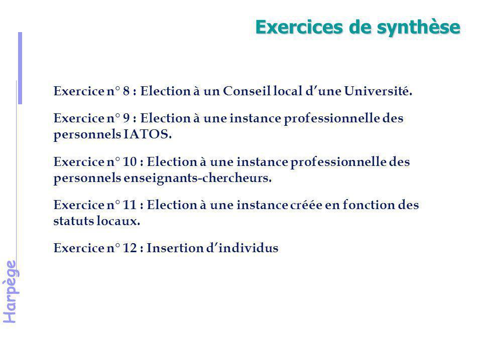 Exercices de synthèse Exercice n° 8 : Election à un Conseil local d'une Université.
