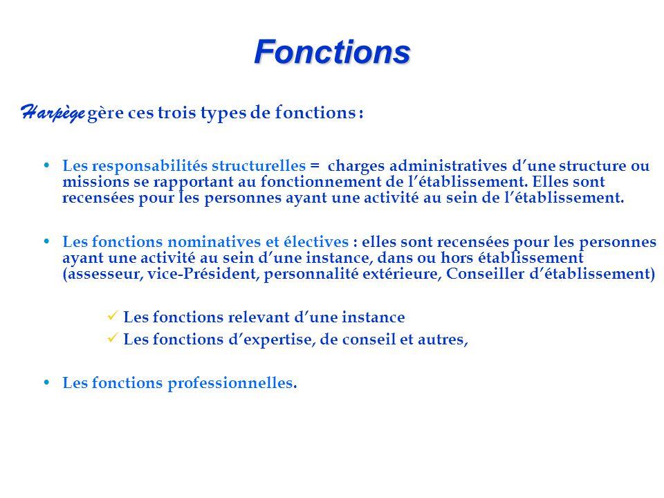 Fonctions Harpège gère ces trois types de fonctions :