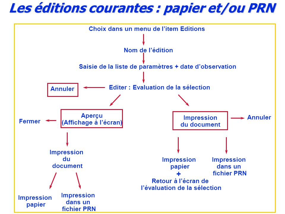 Les éditions courantes : papier et/ou PRN
