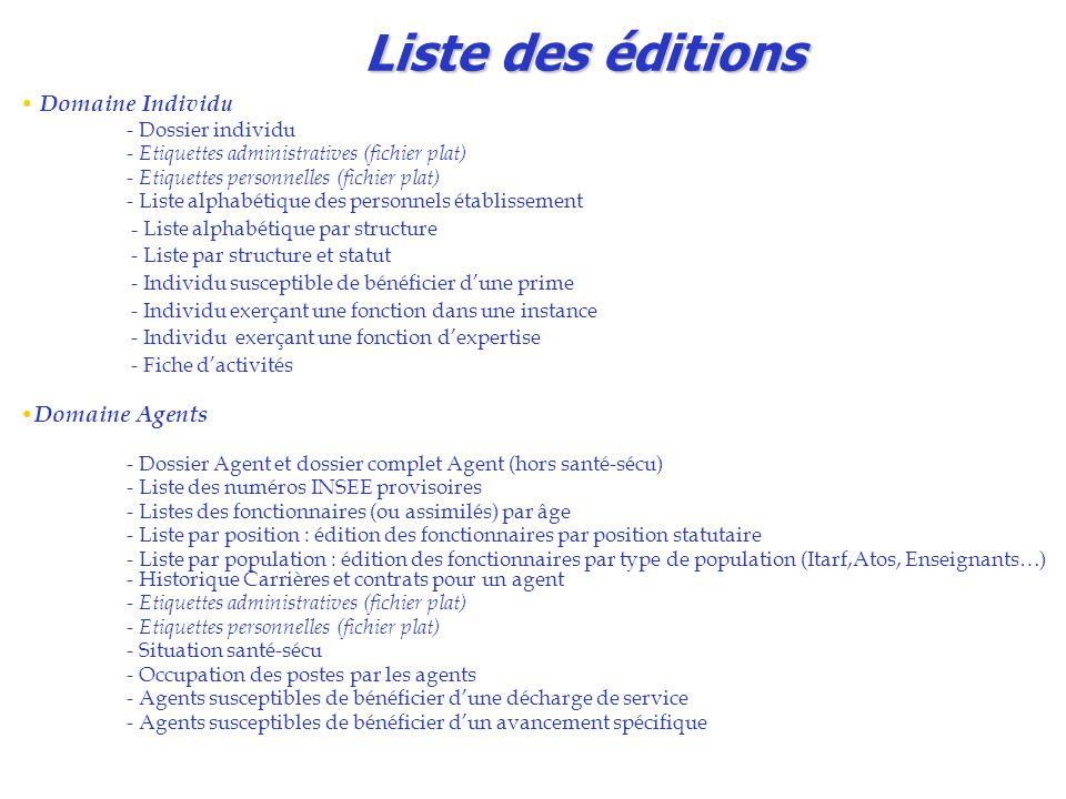 Liste des éditions Domaine Individu Domaine Agents - Dossier individu