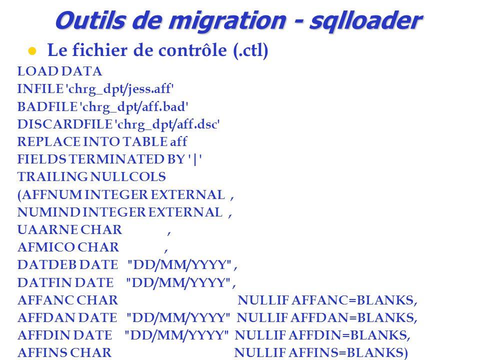 Outils de migration - sqlloader