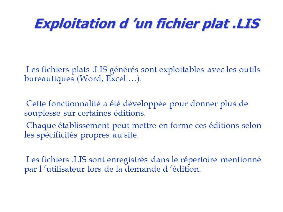 Exploitation d 'un fichier plat .LIS