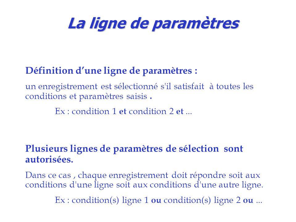La ligne de paramètres Définition d'une ligne de paramètres :