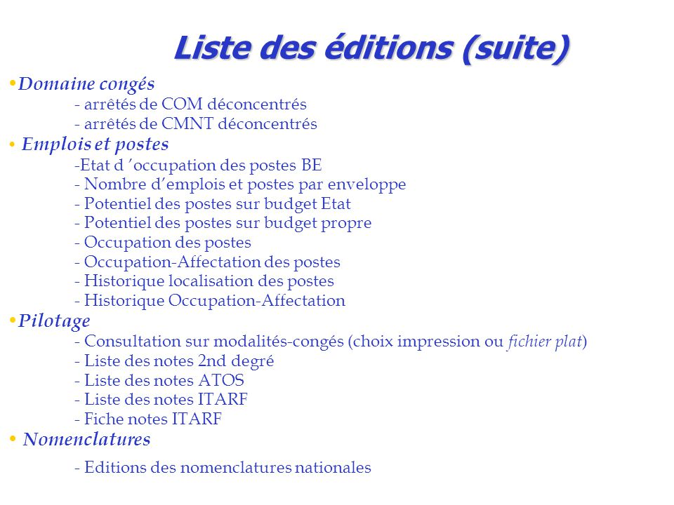 Liste des éditions (suite)