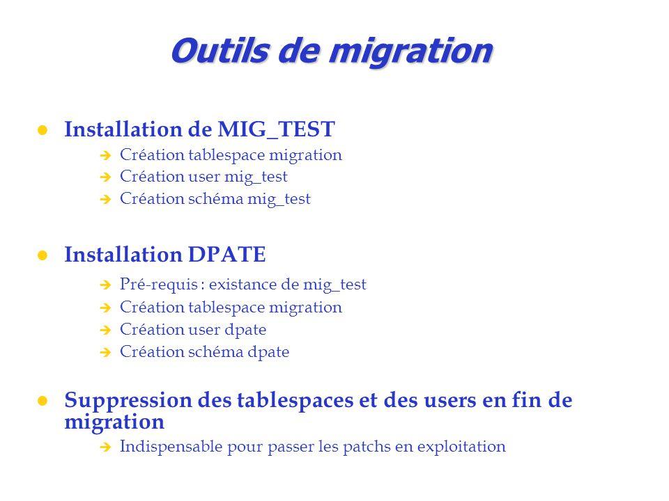 Outils de migration Installation de MIG_TEST Installation DPATE