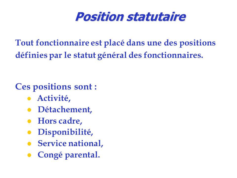 Position statutaire Ces positions sont :