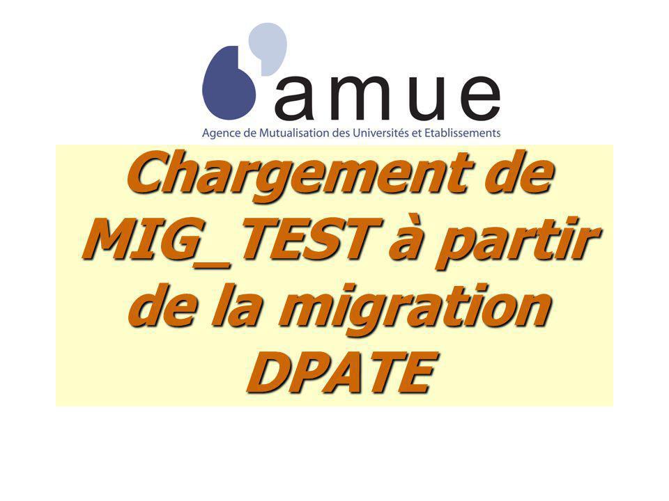 Chargement de MIG_TEST à partir de la migration DPATE
