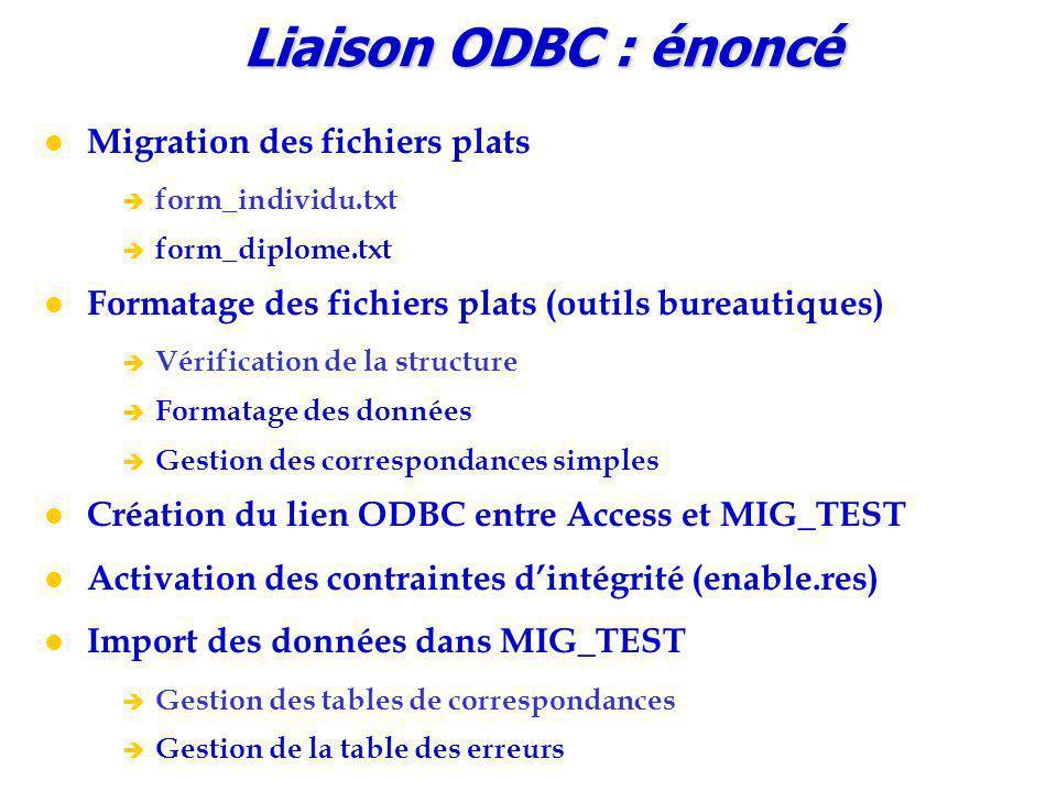 Liaison ODBC : énoncé Migration des fichiers plats