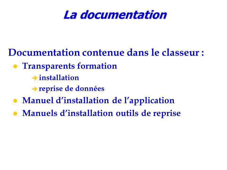 La documentation Documentation contenue dans le classeur :