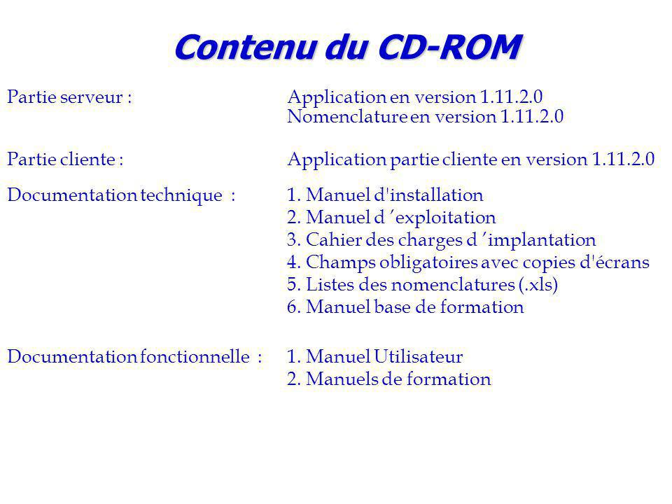 Contenu du CD-ROM Partie serveur : Application en version 1.11.2.0 Nomenclature en version 1.11.2.0.