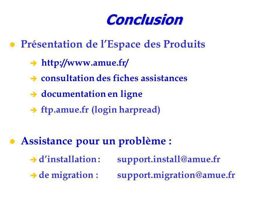 Conclusion Présentation de l'Espace des Produits