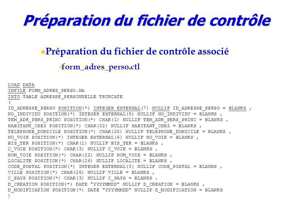 Préparation du fichier de contrôle