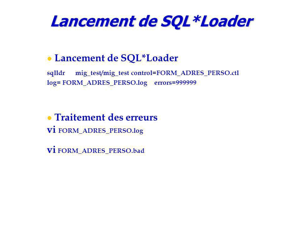 Lancement de SQL*Loader