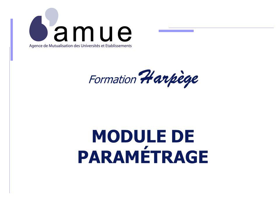 Formation Harpège MODULE DE PARAMÉTRAGE