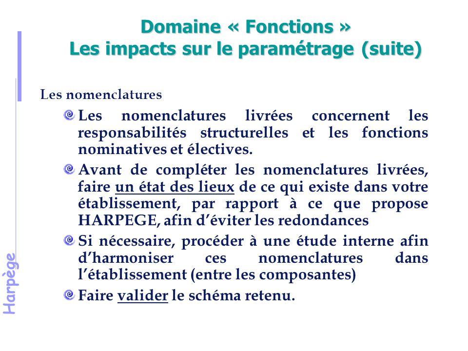 Domaine « Fonctions » Les impacts sur le paramétrage (suite)