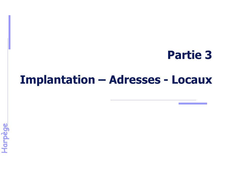 Partie 3 Implantation – Adresses - Locaux
