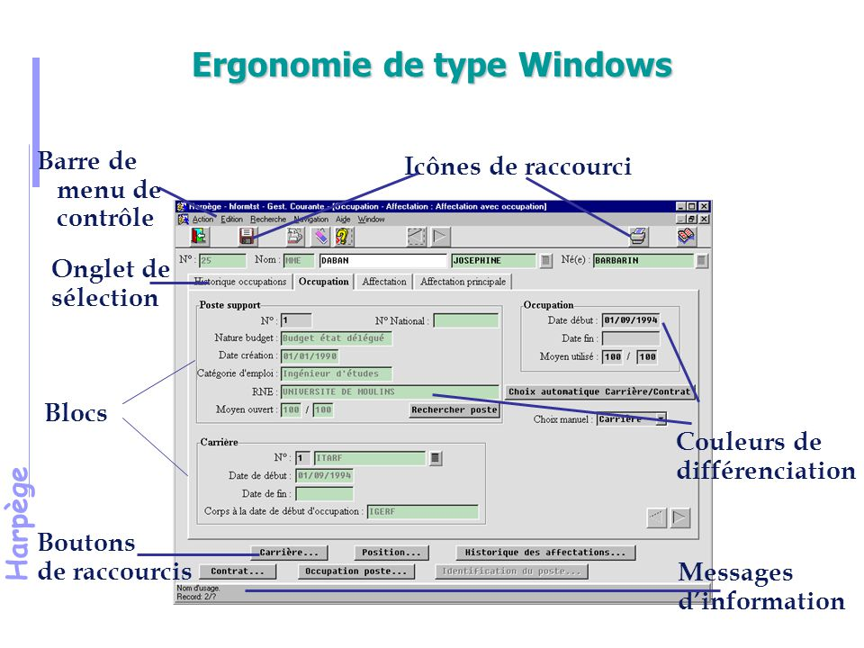 Ergonomie de type Windows