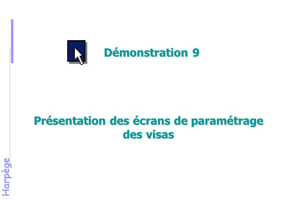 Présentation des écrans de paramétrage des visas