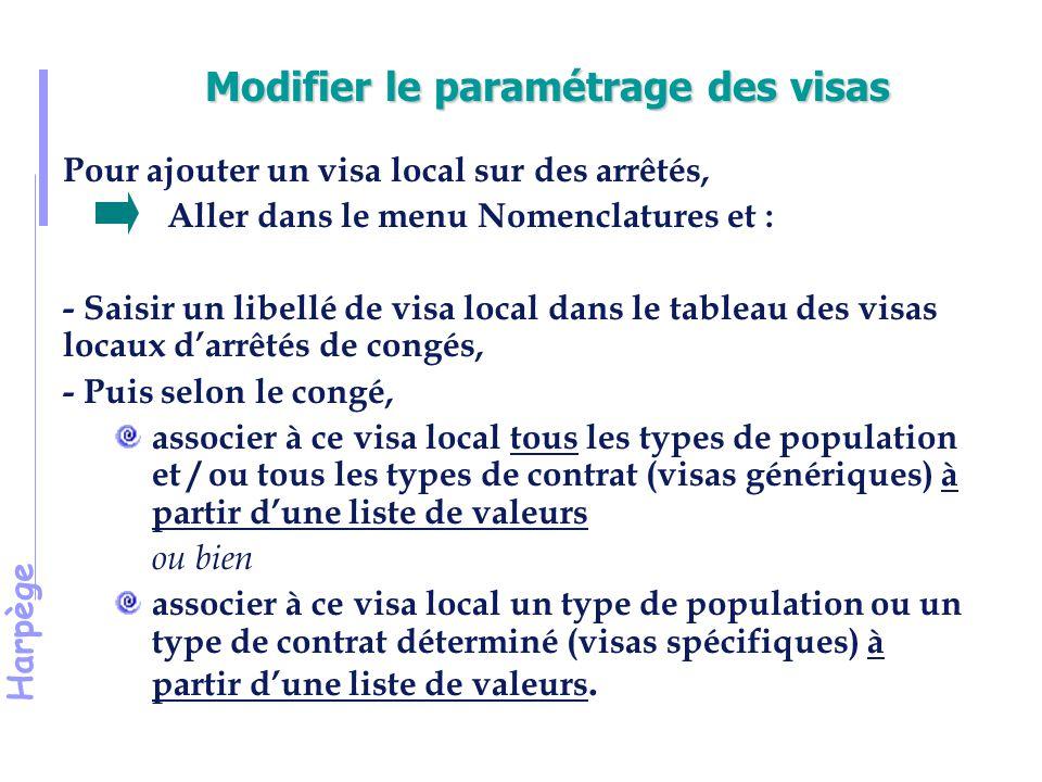 Modifier le paramétrage des visas