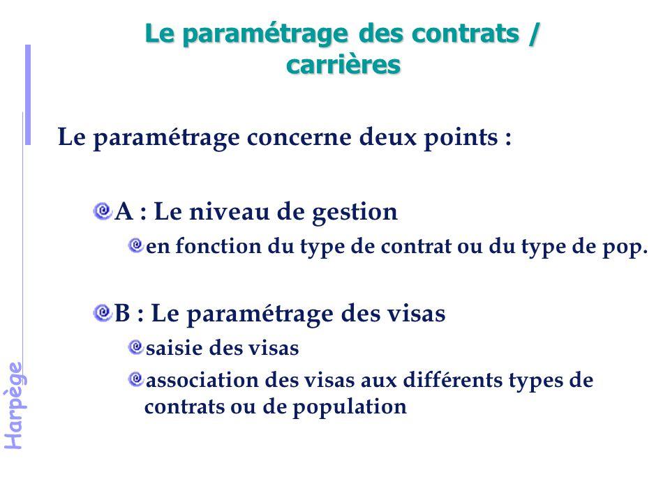 Le paramétrage des contrats / carrières