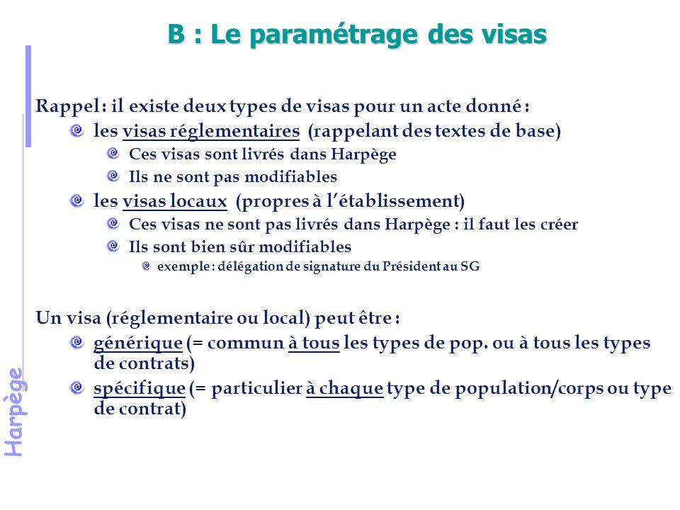 B : Le paramétrage des visas