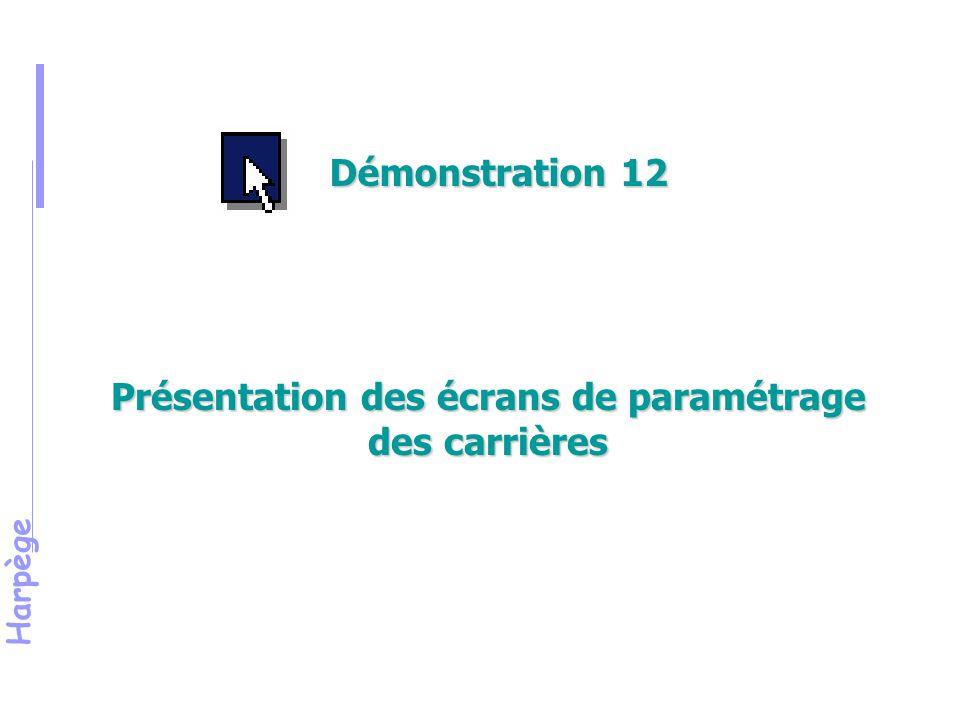 Présentation des écrans de paramétrage des carrières