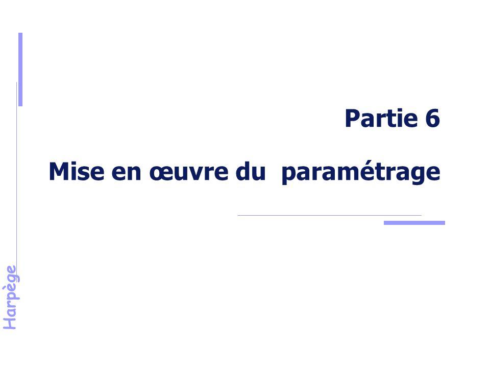 Partie 6 Mise en œuvre du paramétrage