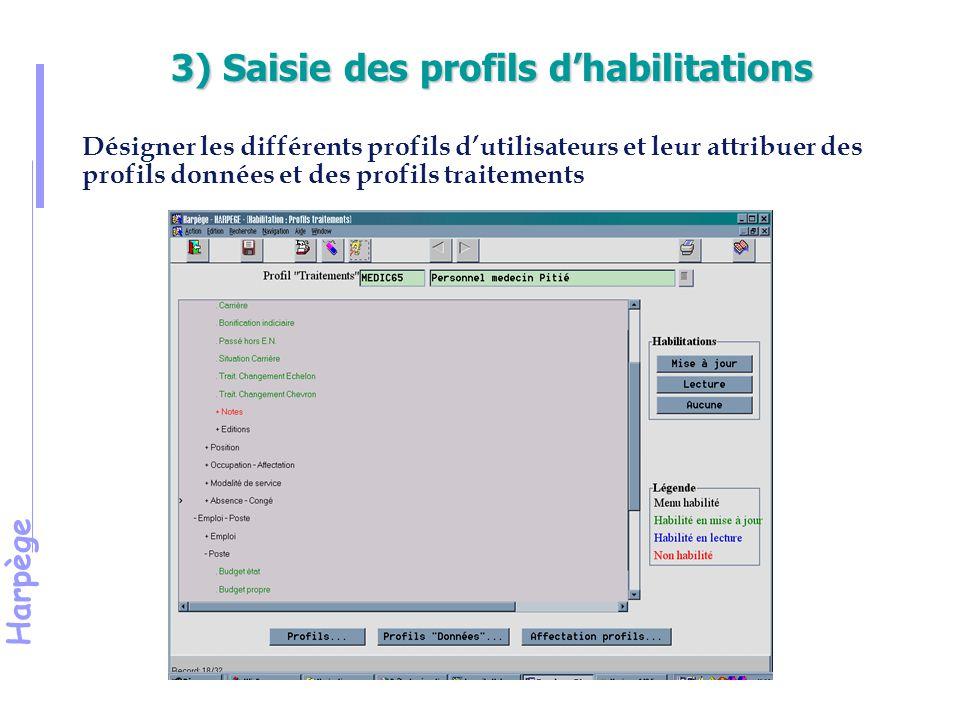 3) Saisie des profils d'habilitations
