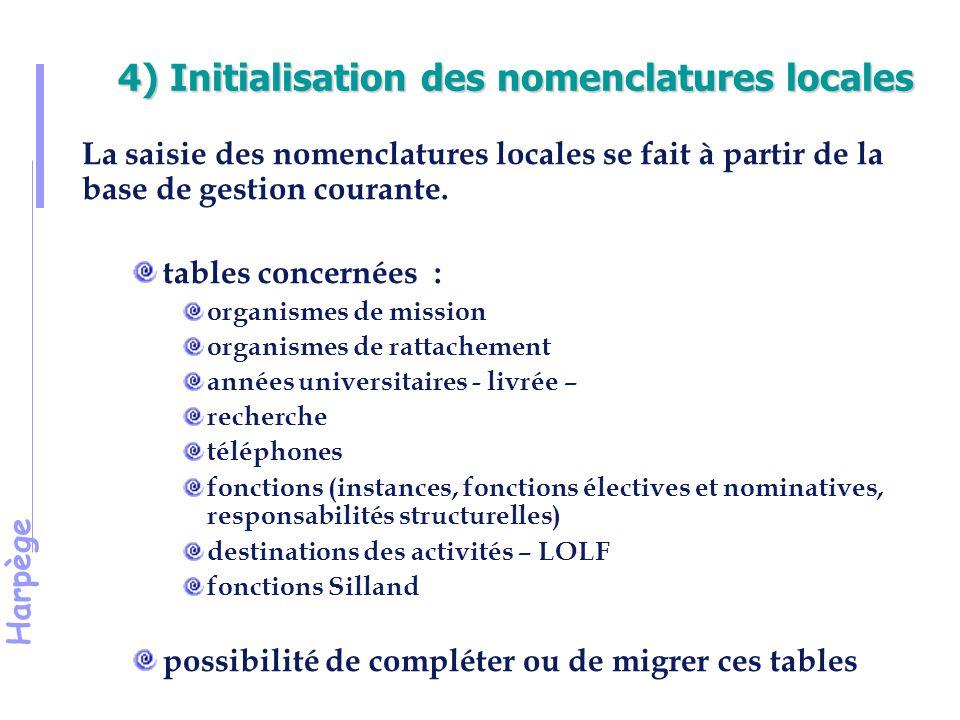 4) Initialisation des nomenclatures locales