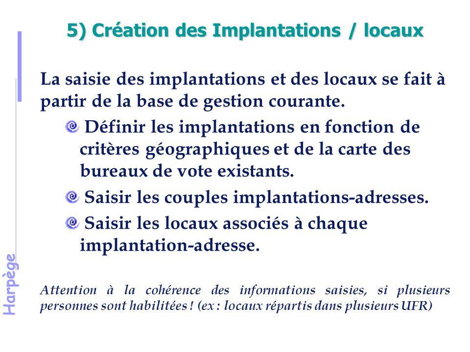 5) Création des Implantations / locaux