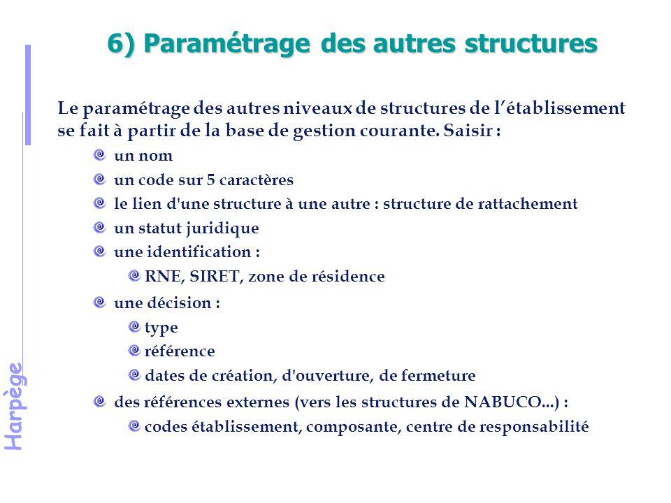 6) Paramétrage des autres structures