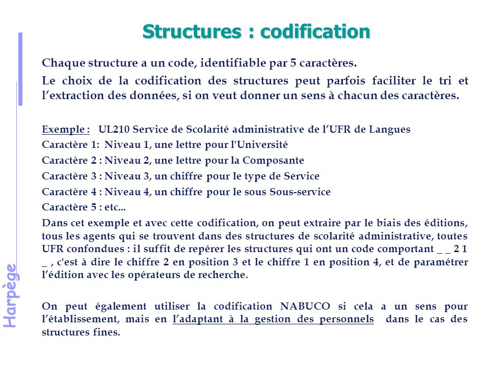 Structures : codification