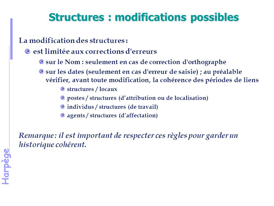 Structures : modifications possibles