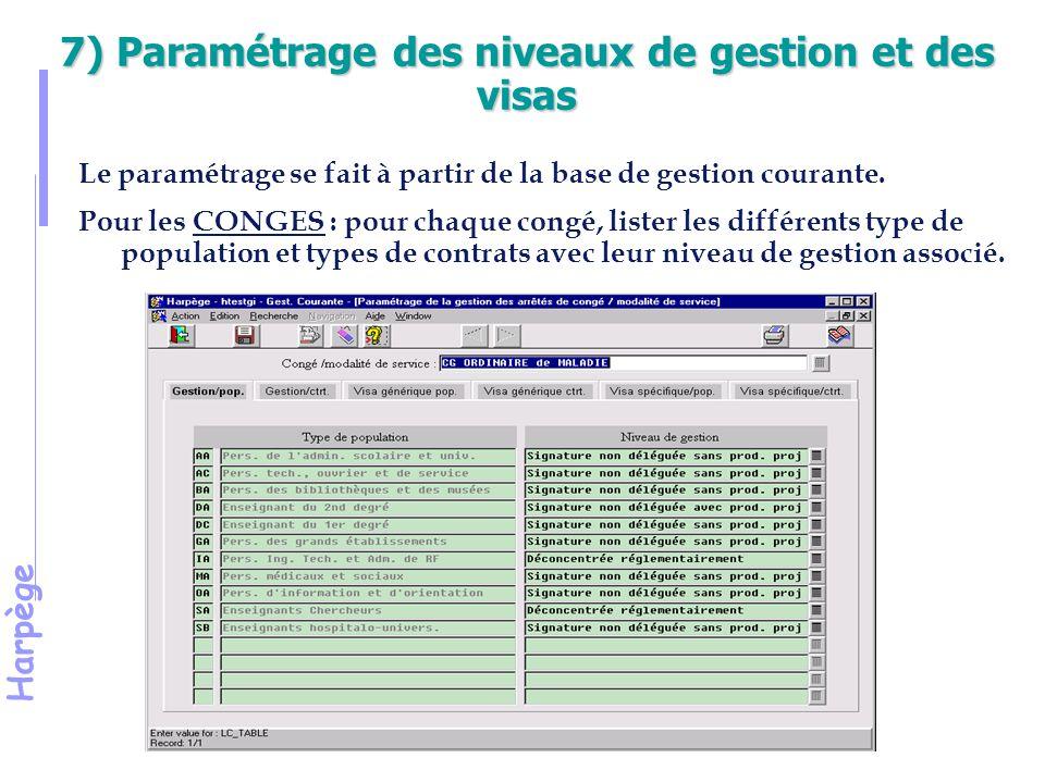 7) Paramétrage des niveaux de gestion et des visas