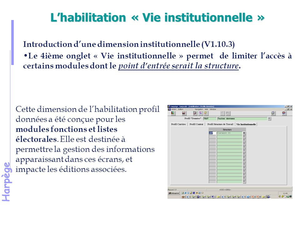 L'habilitation « Vie institutionnelle »