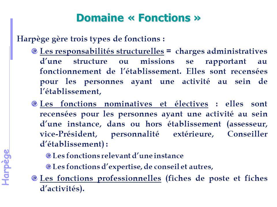Domaine « Fonctions » Harpège gère trois types de fonctions :
