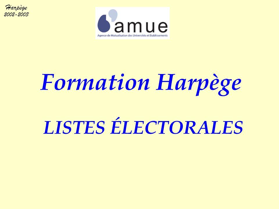 Formation Harpège LISTES ÉLECTORALES