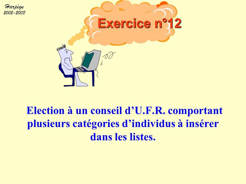 Exercice n°12 Objectif. Faire participer à l'élection au Conseil d'une U.F.R. médicale : des chercheurs et I.T.A. de la recherche ;