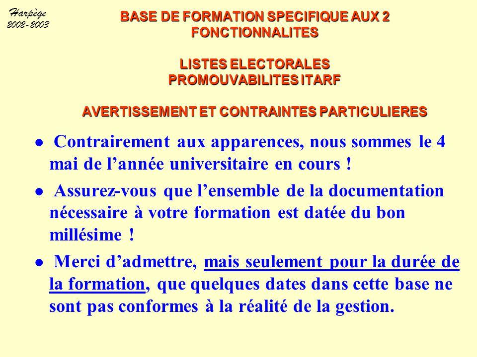 BASE DE FORMATION SPECIFIQUE AUX 2 FONCTIONNALITES LISTES ELECTORALES PROMOUVABILITES ITARF AVERTISSEMENT ET CONTRAINTES PARTICULIERES