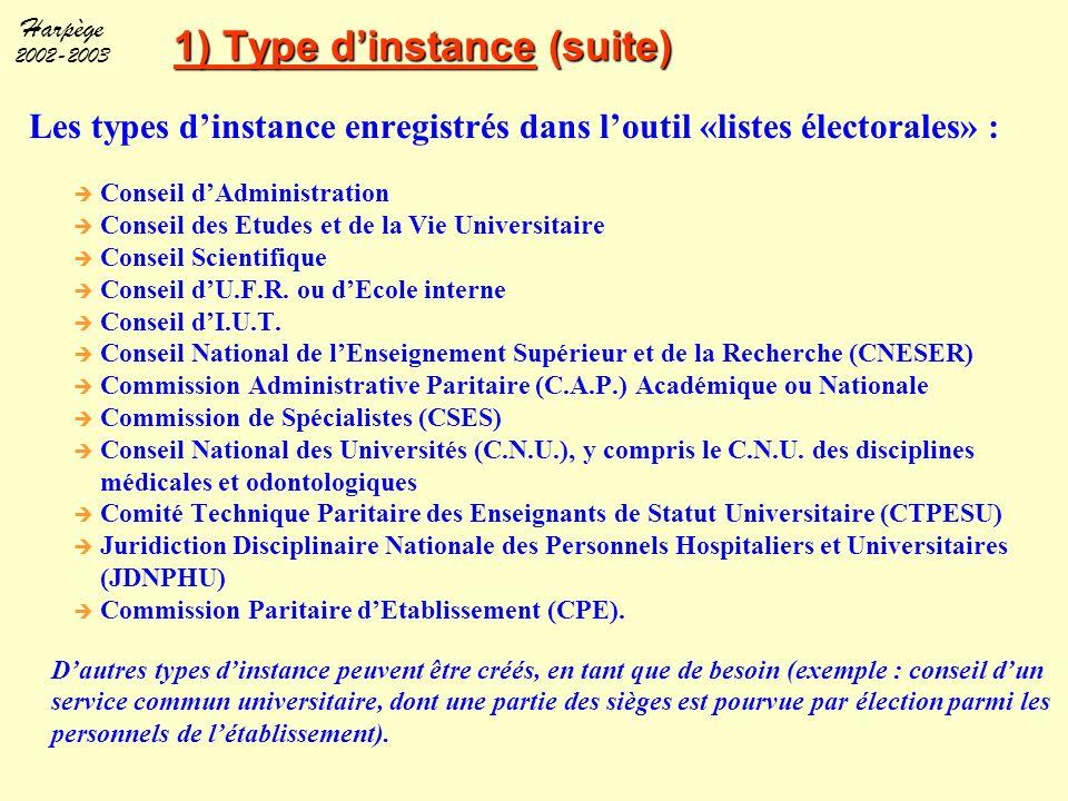 1) Type d'instance (suite)