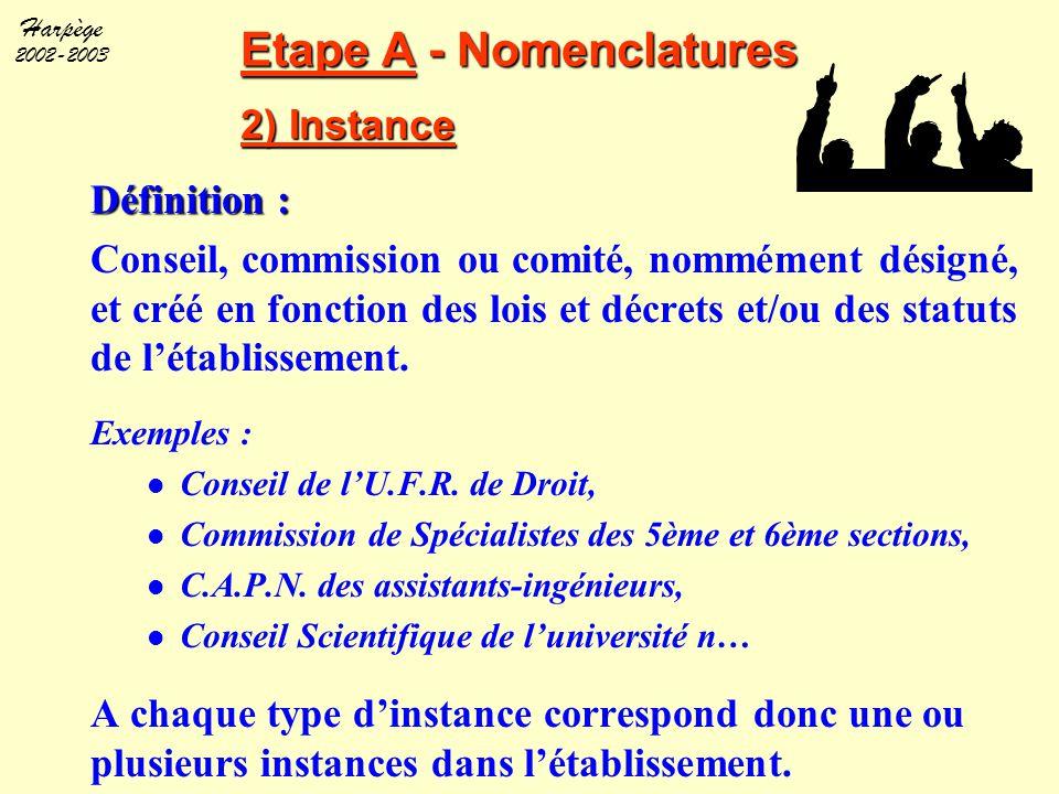Etape A - Nomenclatures 2) Instance