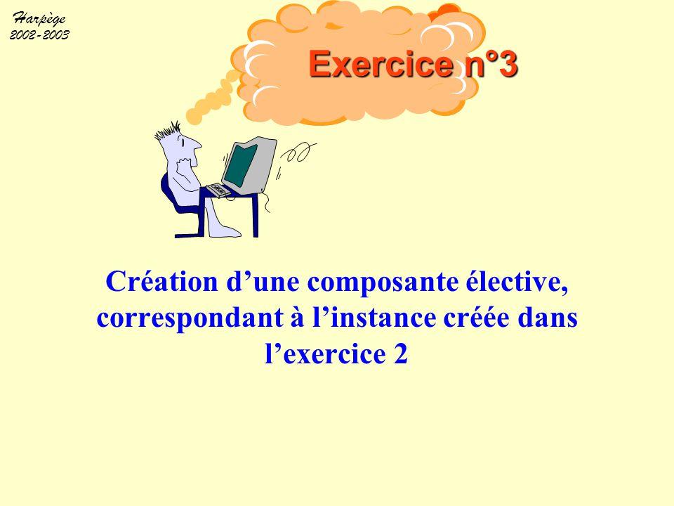 Exercice n°3 Objectif. Création d'une composante élective, correspondant à l'instance créée dans l'exercice 2.