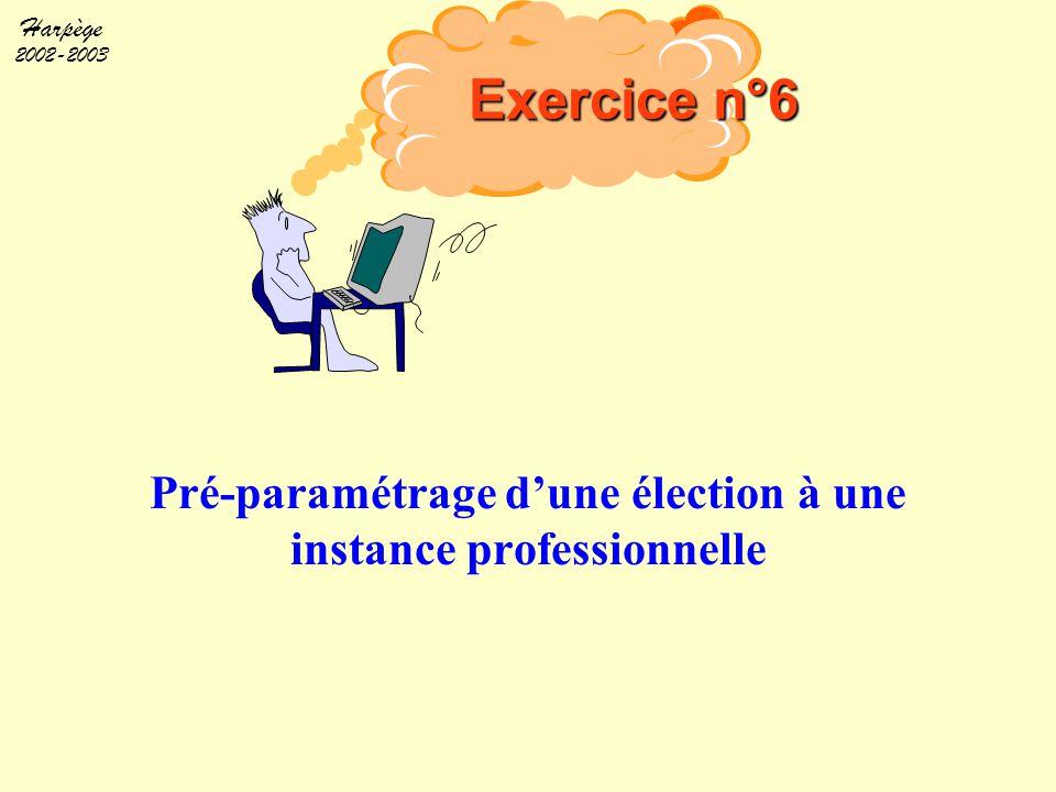 Pré-paramétrage d'une élection à une instance professionnelle