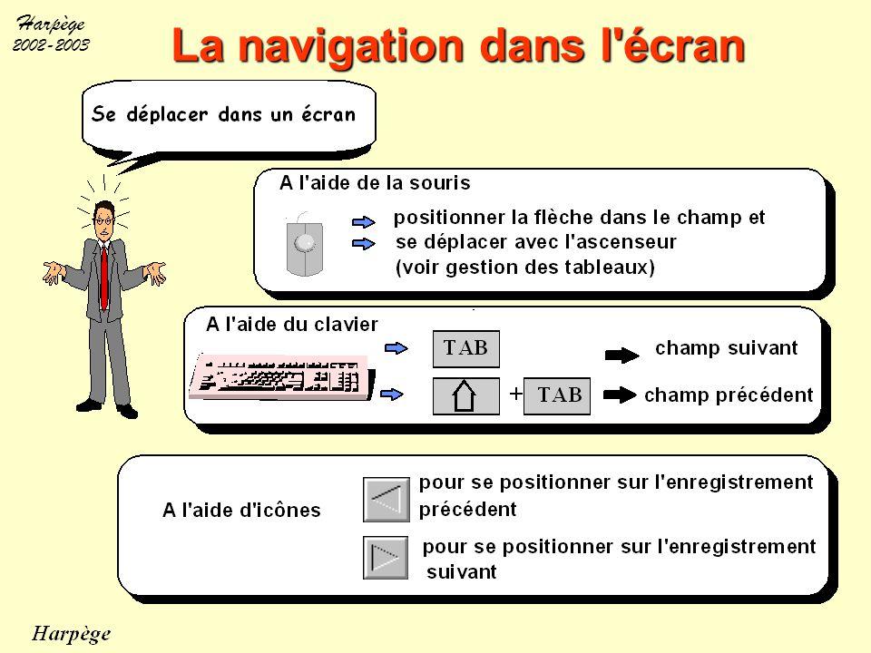 La navigation dans l écran