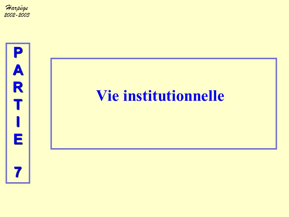 P A R T I E 7 Vie institutionnelle