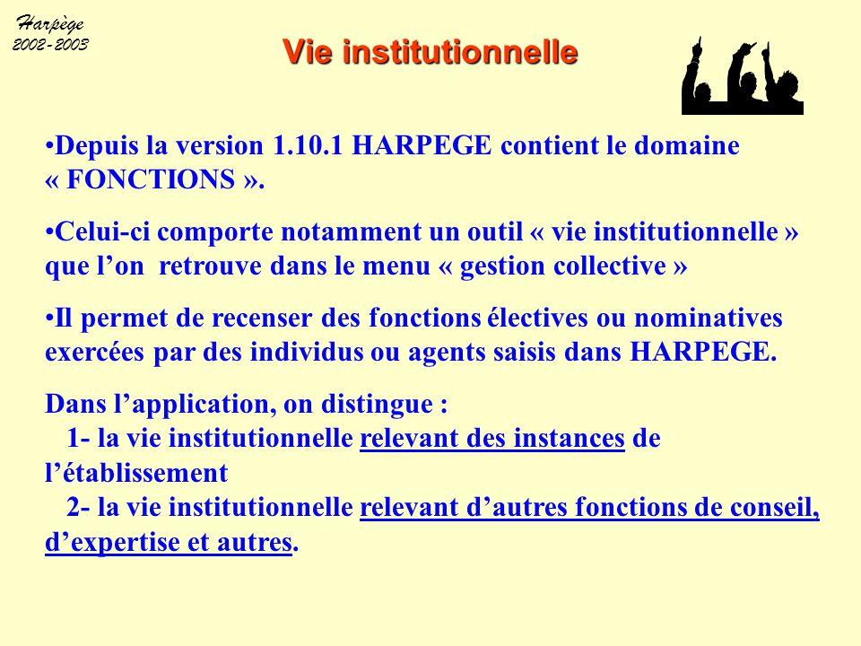 Vie institutionnelle Depuis la version 1.10.1 HARPEGE contient le domaine « FONCTIONS ».
